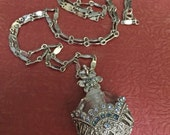 Perfume bottle necklace crystals with vintage chain