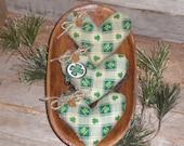 Set of 3 Primitive Grungy Rustic St. Patricks Irish Shamrock & Leprechaun Hats Heart Shaped Bowl Fillers - Ornies - Tucks - Ornaments