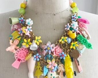 Vintage Toy Necklace, Flower, Statement, Bib - Child's Play