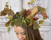 Horned Headdress, Green, Woodland, Satyr, Forest Headpiece, Leaves, Faun, Fawn, Cosplay, Fantasy, Mori Kei, Lolita, Maenad, Flower Crown