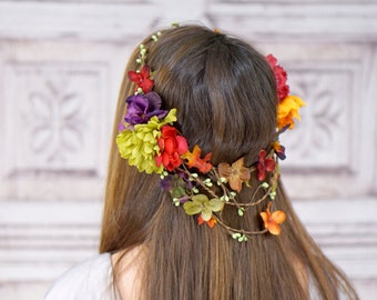 Autumn Fairy Floral Headdress, Fall Flower Crown, Floral Headpiece, Costume Headdress, Woodland, Rustic, Fall Colors, Fairy, Elven, Fantasy