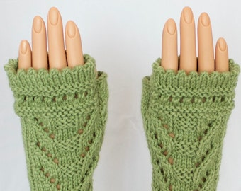 Light leaf Green Wool Acrylic Arm Warmer Fingerless Mitts or Gloves