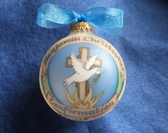 Boy or Girl CONFIRMATION ORNAMENT, Original Handpainted Personalized Keepsake Ornament with Free Display Stand