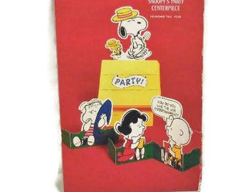 Vintage Hallmark Snoopy's Party Centerpiece | Peanuts Characters Table Centerpiece