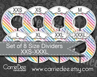 Clothing Size Dividers, Consultant Stylist Tools, Size Divider Set, Diagonal Stripe Design, Size Cards