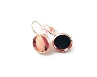 12mm Rose Gold Bezel Earring Hooks , pick your amount, C136