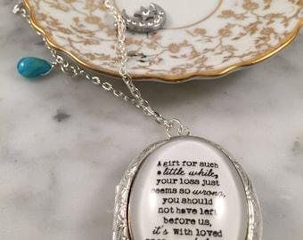 Sympathy Necklace, Sympathy Locket, Miscarriage Necklace, Miscarriage Quote, Silver Locket Necklace, Charm Locket, Charm Necklace, Locket