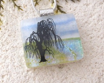 Willow Tree Necklace, Tree Necklace, Dichroic Glass Jewelry,Fused Glass Jewelry, Dichroic Glass Jewelry, Fused Glass Pendant,  102116p105