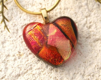 Petite Red Heart, Dichroic Heart, Free Form Heart, Gold Necklace, Red Jewelry, Glass Jewelry, Fused Glass Jewelry, Red Necklace, 110516p103