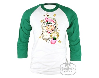 Pink Santa Shirt - Santa Christmas Shirt -  Christmas Baseball Green Shirt - Womens Santa Christmas - Retro Adult Unisex S M L Xl 2Xl 3XL