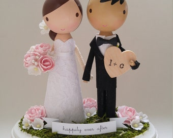 custom wedding cake topper - banner & heart