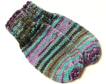 Baby Mittens. Thumbless Hand Knit Wool Infant Mittens. 6 to 9 Months. Kids Purple Turquoise No Thumb Winter Hand Warmers. No String