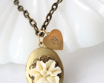 Personalized Locket Necklace - Oval Lily locket with Hand stamped heart initial charm - flower jewelry for wife