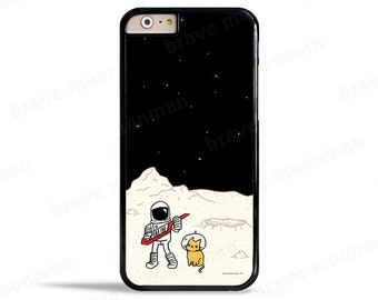 iPhone 7 Case Astronaut Brave Moonman iPhone 6s Case Keytar Space Kitty Samsung Galaxy S7 Case Moon Outer Space Cat Galaxy Note 5