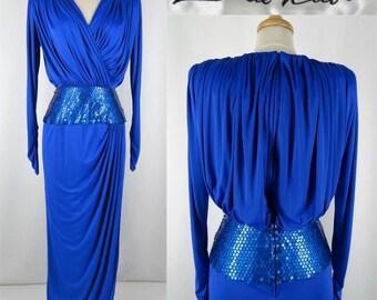 Vintage 80's LILLIE RUBIN Elegant Ruched & Draped Gown