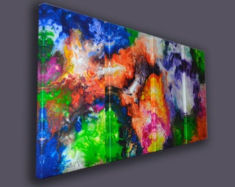 Large abstract art, fine art giclee canvas prints, multi panel canvas, from my original abstract painting, colorful wall art
