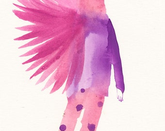 Spotted Pants Bird Original / gouache painting