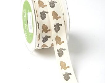 MAY ARTS Ribbon - 1 yard - 3/4 Inch Ivory 100% Cotton w/ Print Ribbon Black / Brown Rabbits - SKU: 413-34-27
