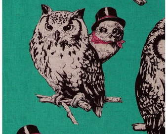 HALF YARD - Out on a limb, Fancy Owls on Mint Green - Top Hat, Bandana, 80/20 Cotton/Linen Blend - Japanese Import