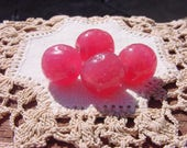 Watermelon Pink Opal Dimpled Vintage Baroque Glass Beads