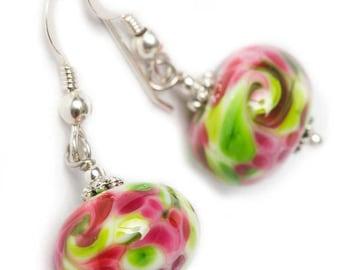 MONET lampwork glass beads, raspberry and green mosaïc