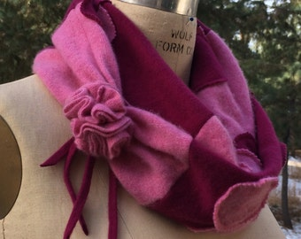 on SALE Cashmere Polka Dot Eco Friendly Infinity Scarf Up Cycled Cashmere