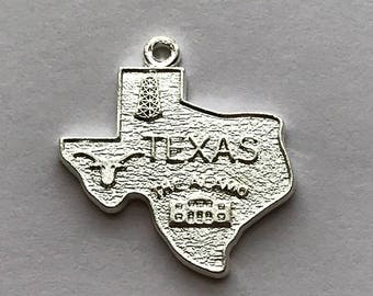 """Big Texas Charm Silver Plated Brass 3/4"""", Sold Individually"""
