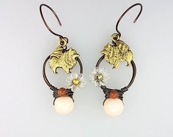 Pomeranian Earrings, Pomeranian Jewelry, Peach Dog Earrings, Animal Hoop Earrings, Peach Animal Earrings, Animal Lover Earrings, Dog Jewelry