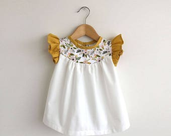 girls cotton dress with pink/gold floral detail