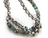 Sterling Silver Rolo Chain Ancient Roman Glass Bead Bracelet Bali Bead MultiChain Adjustable Length Boho