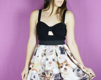 M CAT SKIRT- Kitty Skirt - Kitten skirt - Small CAT skirt - Handmade Skirt Cat - Cat Lady skirt - Lynns Rags