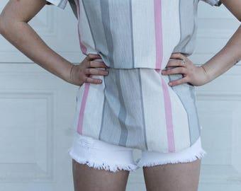 Vintage Pastel Blouse, Retro stripe Blouse, 70s blouse, Pink Gray shirt, Pink Gray blouse, Bow blouse, Vintage Pink Gray Blouse