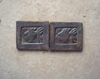 "Rustic Earthenware Brown Swimming Fish Ceramic Clay Mosaic Art Earthenware Tile  2.5"" x 2"""
