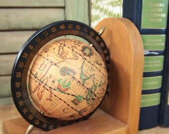 Globe Book end on wood base sepia toned globe