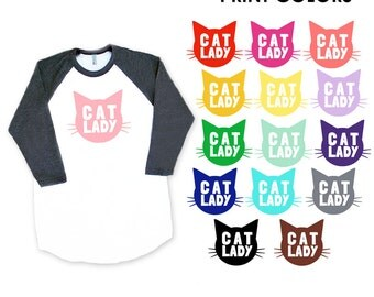 Cat Lady Raglan Sleeve Baseball TShirt - Family Photos, Mother's Day, Cat Mom, Kitty, Birthday Gift, Funny Animal Fur Baby Cat Lover