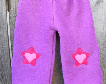 Purple Fleece Pants with Decorative Heart and Star Applique, Size 2T