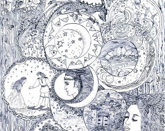 Dream Sequence Fantasy Fine Art Print Pen and Ink Illustration Black and White Dreaming of the Fairy King Story