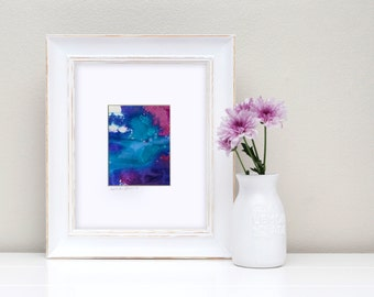 """Blue Abstract Watercolor Painting, Abstract in Mat """"Serene Balance 1"""" Original Art Mystical Spiritual FRAME READY Kathy Morton Stanion  EBSQ"""
