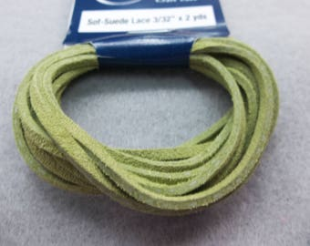 """Sof-Suede Lace 3/32"""" by 2 yards, Kiwi color by Real Leather made in US"""