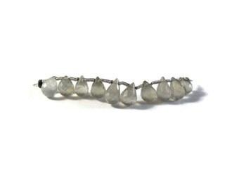 Ten Prehnite Beads, Mini Strand of Natural Gemstone Briolettes, 8mm x 6mm, 10 Beautiful Gemstones for Making Jewelry (B-Pr11e)