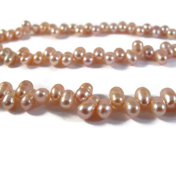 Pink Freshwater Pearl Beads, Top Drilled Dancing Pearls, 15 Inch Strand of Champagne Colored 7mm x 4mm Pearls (P-R1)