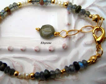 Dainty Gold Labrodite Gemstone Bracelet-Beaded  bracelet-Simple gemstone bracelet,grey,Pearl bracelet,Bride,wedding-bracelet