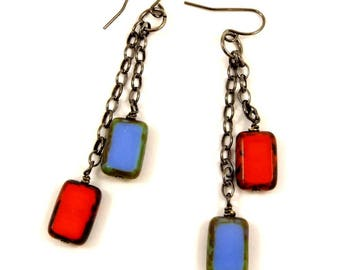 Red and Blue Earrings Long Dangle Earrings Gunmetal Jewelry Asymmetrical Earrings Glass Jewelry