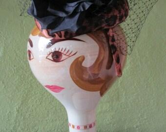 Leopard Satin Black Mesh Veil Silk Floral Cocktail Fascinator Hat Headband