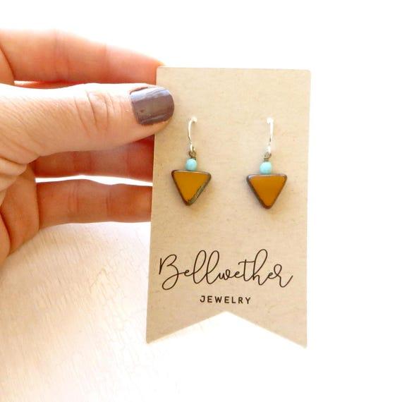 Bridesmaid Earrings > Small Angle Earrings > Mustard