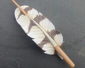 Snowy Owl Feather Leather Hair Stick Barrette or Shawl Clasp - Hair Pin, Hair Slide, Shawl Pin - Rustic, Woodland Accessory - Medium Spacing