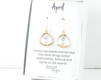 April Birthstone Gold Framed Dangle Earrings, Clear Gold Dangle Earrings, April Birthday Jewelry, Bridesmaid Jewelry, Gold Earrings #807