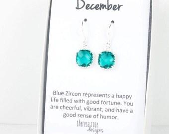 December Blue Zircon Birthstone Silver Earrings, Silver Earrings, Blue Zircon Square Silver Earrings, December Birthstone