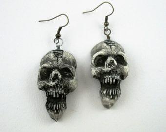 Vintage Skeleton, Shrunken Head, Halloween, Voodoo,  Zombie Head Earrings