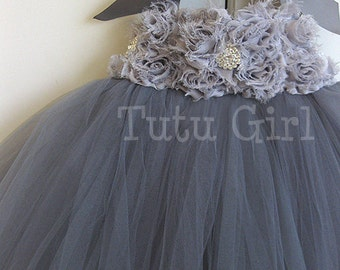Gray Tutu Dress Flower Girl, Grey Tutu Dress, Charcoal, Platinum, Girls Baby Toddler